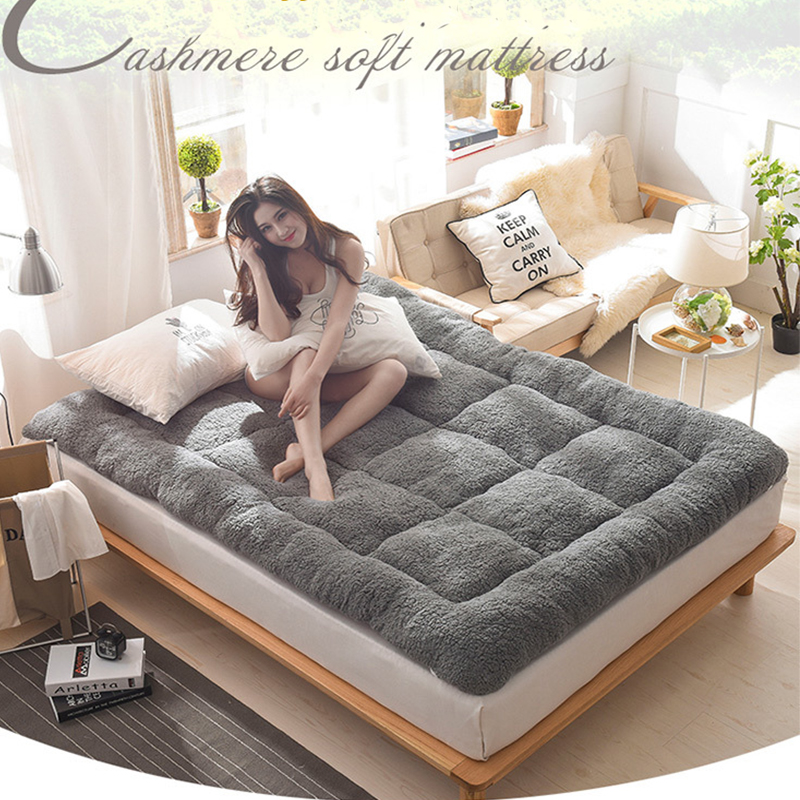 2020 New Fashion Mattress Upholstered Lambskin Thick Warm Winter  Plush Lamb Velvet Mattress Thick Warm Tatami Mat Famliy Rest