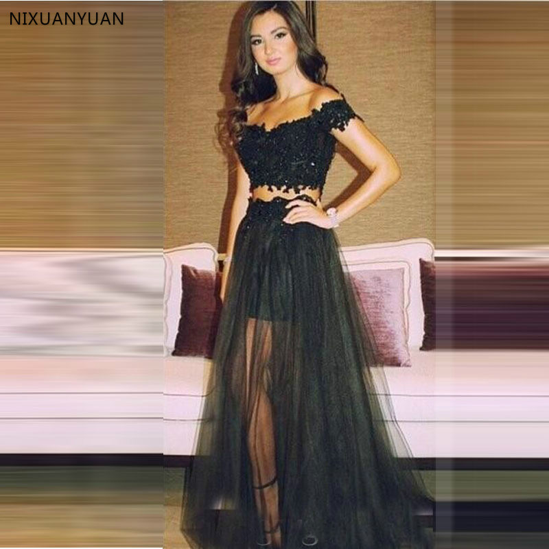 Vestidos 2 Two Pieces Prom Dresses 2020 Off Shoulder Black Formal Gowns Beaded Appliques Sexy Pageant Tulle Long Party Dress