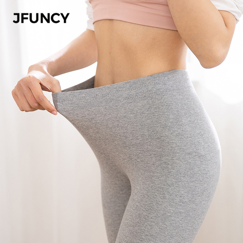 JFUNCY Casual Cotton Leggings Women Spring Fall Fitness Slim Ankle Length Leggings Female Elastic Pants 1