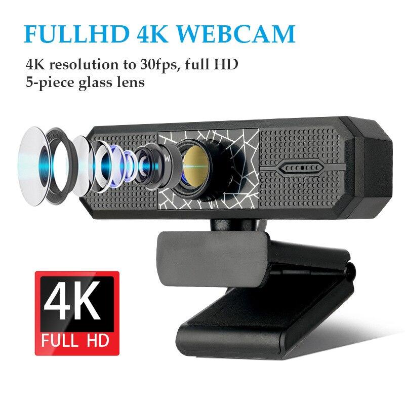 2K 4K PC Webcam With Microphone 2K HD 1080P Web Camera 800 Mega Pixels Autofocus Computer USB Camera For Live Broadcast Video