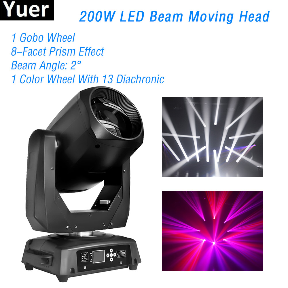 New LED Stage Moving Head Light 200W Beam Spot 2IN1 DMX512 DJ Disco Lights Strobe Effect Color Music Party Moving Head Light