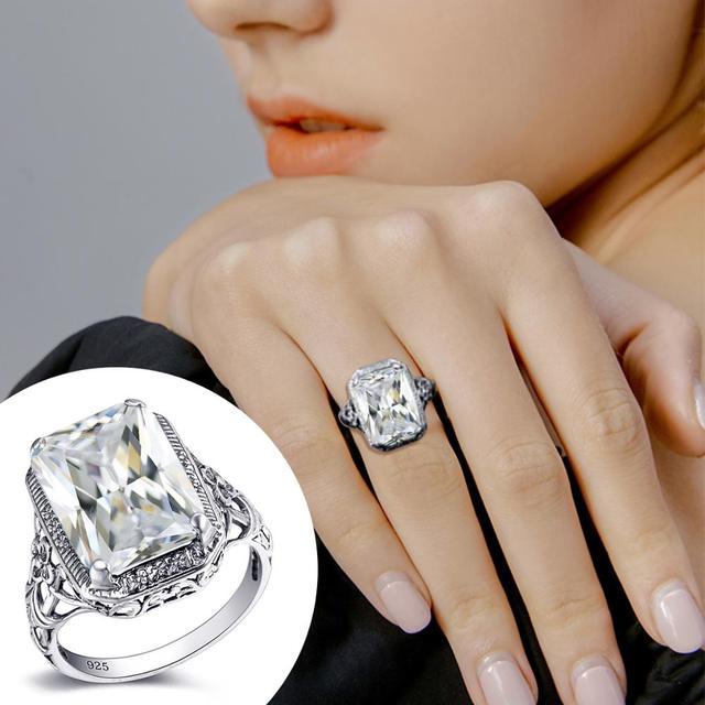 серебряное кольцо для женщин свадебные обручальные кольца прямоугольник фотография