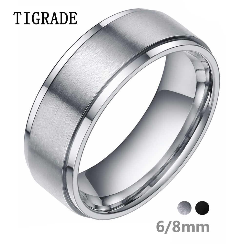 Tigrade 6/8 мм Серебряный Вольфрам Карбидное кольцо мужские черные щеткой обручальное кольцо мужской Обручение кольца для Для женщин Модные украшения bague