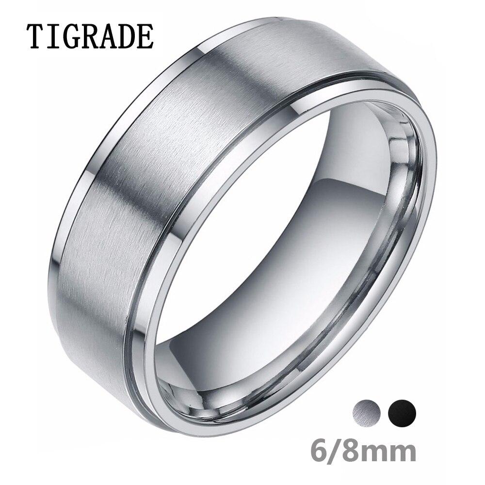 Tigrade 6/8mm argent carbure de tungstène anneau hommes noir brossé bague de mariage hommes bagues de fiançailles pour les femmes bijoux de mode bague