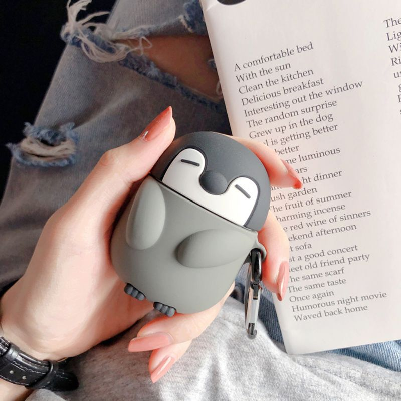 <font><b>1</b></font> PC Cute Penguin Style Protective <font><b>Case</b></font> Silicone Cover with Carabiner for <font><b>Airpods</b></font> <font><b>1</b></font>/2 image