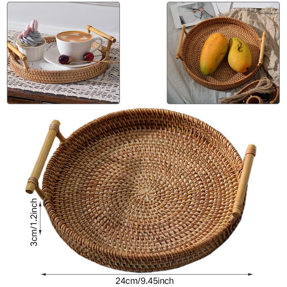 Ротанг ручной работы круглый высокий настенный отрубной лоток для хранения еды тарелка над ручками для завтрака закуски для кофе чая|Корзины для хранения|   | АлиЭкспресс - Стильный дом