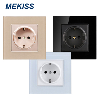 цена на MEKISS Power socket EU standard AC110V-250V 16A tempered glass panel home socket
