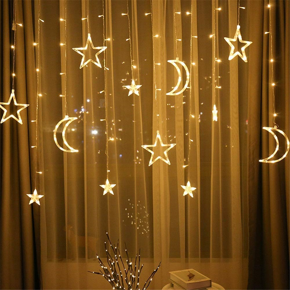 3.5M LED Star Moon Festival Lights Christmas New Year Wedding Birthday Party Decoration Lights Dream Curtain Lights 8 Modes