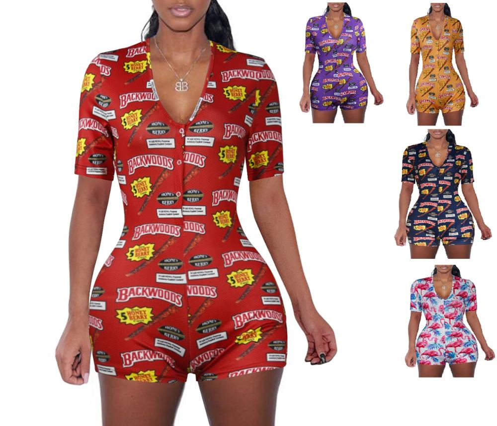 2020 summer short pants   Rompers   Sexy Bodycon long sleeve print jumpsuit for women DZ002