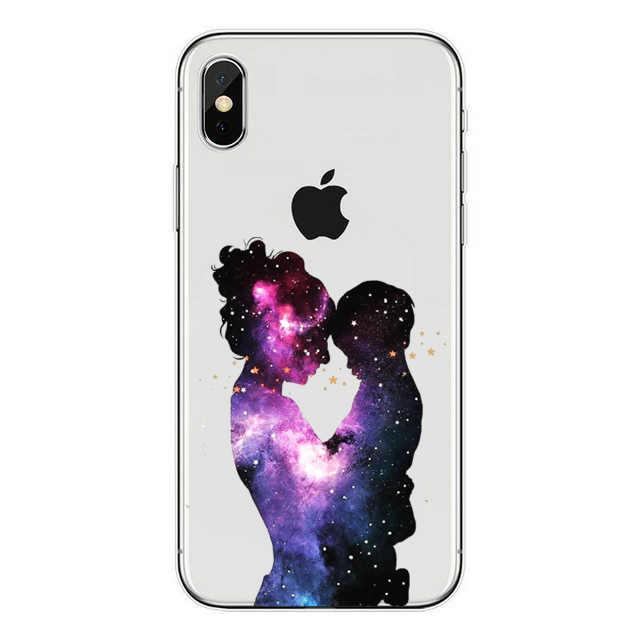 Czarne brązowe włosy drodzy dziecko mama dziewczyna syn królowa księżniczka miękka TPU telefon pokrywa dla iPhone 7 6 6s 8 Plus X XR SE mamusia coque