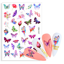 Adhesive-Decals Nail-Stickers Nail-Art-Decoration-Accessories Flower Manicures Rainbow