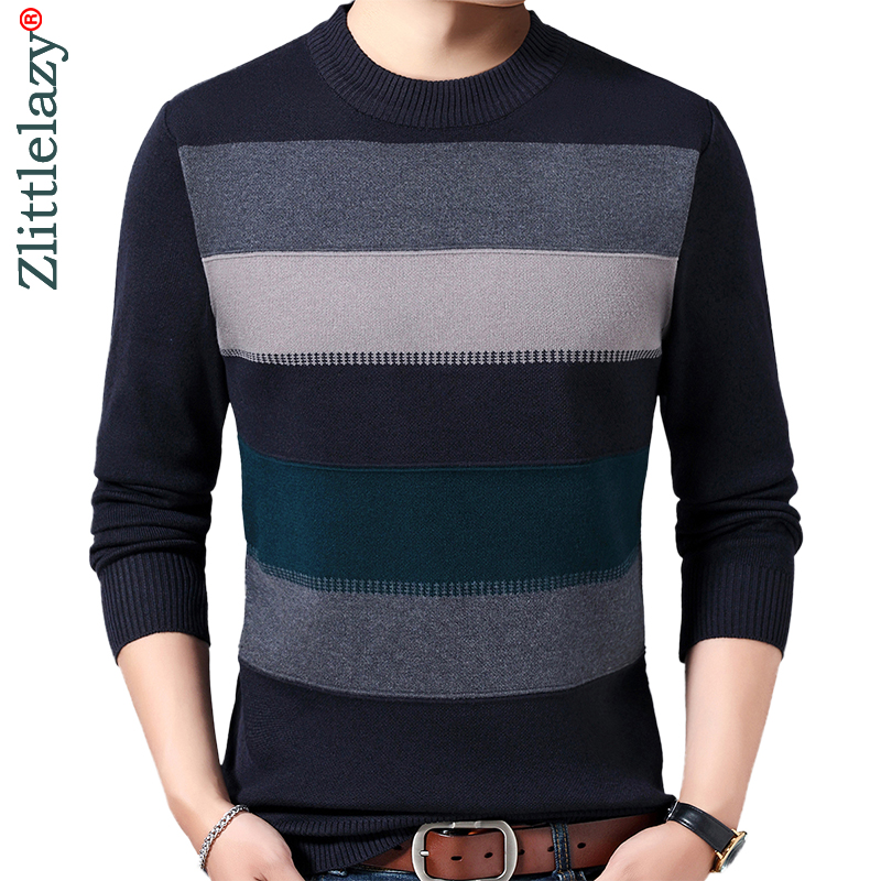 2019 Casual Thick Warm Winter Striped Knitted Pull Sweater Men Wear Jersey Dress Pullover Knit Mens Sweaters Male Fashions 02118