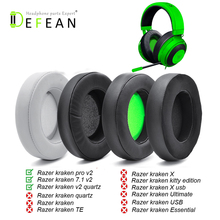 Defean Replacement Earpads Foam Ear Pads Cushions For Razer Kraken 7.1 Chroma V2 USB Gaming Pro V2 Headphone
