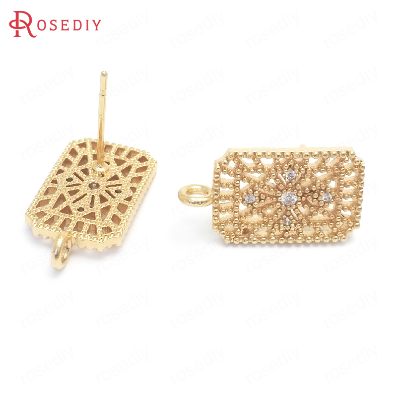 (37669)6PCS 15x10MM 24K Gold Color Brass And Zircon Rectangle Shape Stud Earrings Pins Jewelry Making Supplies Diy Accessories