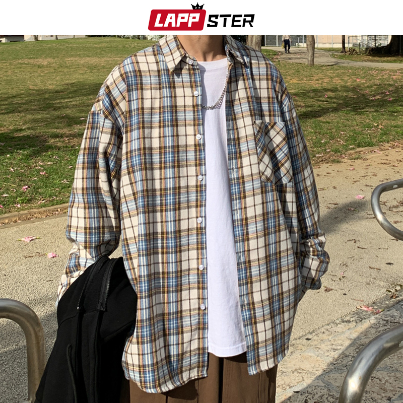 LAPPSTER Mens Harajuku Plaid Vintage Shirts 2020 Man Japanese Streetwear Pockets Shirts Long Sleeve Male Casual Button Up Shirt