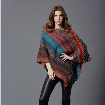 Women Vintage Tassel Women Sweater Autumn Winter Batwing Sleeve Cloak Knitted Loose Coat Casual Striped Pullovers Female Sweater new fashion autumn and winter women print tassel knit poncho cardigan female bat sleeve cloak sweater
