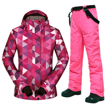 1 Winter Ski Suit Women Windproof Waterproof Breathable Female Snow Jacket and Pants Women Skiing and Snowboarding Jacket Brands dropshipping waterproof sportwear female ski suit women winter ski wear hooded jacket strap pants snow jacket and pants