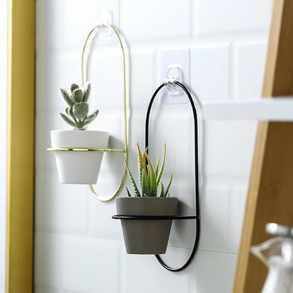 Nordic Style Home Decoration Flower Pot Iron Hanging Geometric Planter Container For Desktop Office Wall Window Decoration
