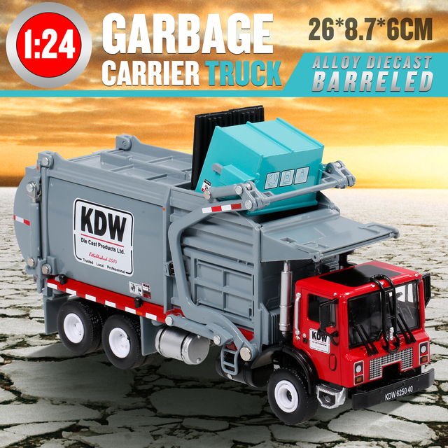 1:24 Alloy Diecast Barreled Garbage Carrier Truck Waste Material Transporter Vehicle Mod Collector Hobby Kid Toy Christmas Gift