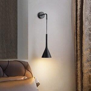 북유럽 머리맡의 벽 펜던트 조명 E27 LED 침실 벽 램프 거실 계단 호텔 주방 조명기구 블랙 화이트 그레이