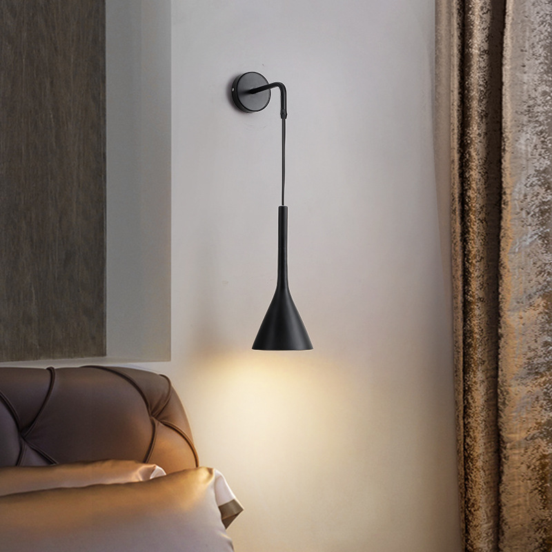 Nordic Bedside Wall <font><b>Pendant</b></font> <font><b>Lights</b></font> E27 LED Bedroom Wall Lamp for Living Room Stair Hotel Kitchen <font><b>Lights</b></font> fixture Black white gray image