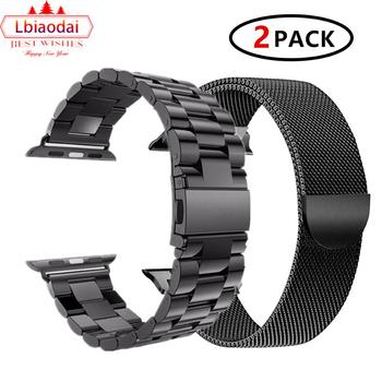 2 Pcs strap for Apple watch band 44 mm 40mm iWatch band 42mm 38 mm Stainless steel bracelet+Milanese Loop Apple watch 4 5 3 2 1 bumvor for apple watch band 38 42mm black gold stainless steel bracelet buckle strap clip adapter for apple iwatch
