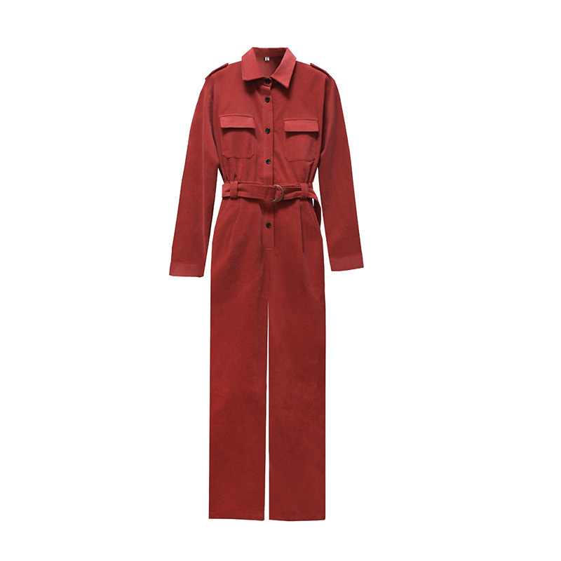 Jumpsuits For Women 2020 New Fashion Autumn Winter Elegant Casual Corduroy Overalls Long Sleeve Jumpsuit Romper Trousers Lady