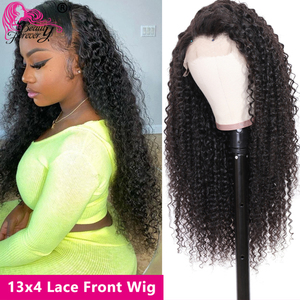 Image 3 - BeautyForever Malaysian Curly Hair Wig Lace Front Wigs 4x1 T Part Lace Human Hair Remy Wig Pre Plucked With Baby Hair