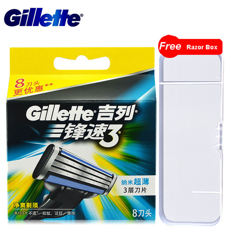8pcs Original Genuine Gillette Mach 3 Shaving Razor Blades For Men Brand 3 Layer New Packaging Manual Shaver Razor Blade
