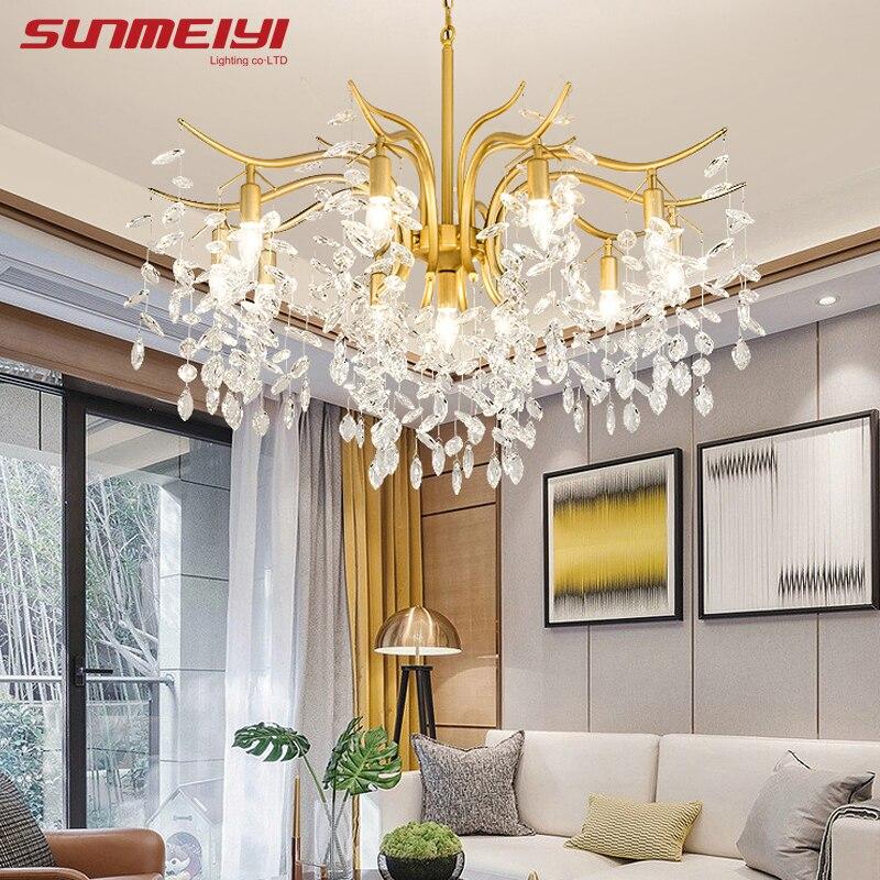 Lustre en cristal de cuisine en or, lustres nordiques en cristal lustre noir en or éclairage de luxe salle de bains salon chambre à coucher pendentif