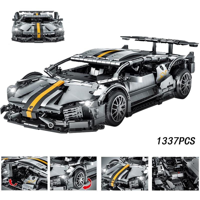 Moc 1337 pçs série técnica lamborghinis murcielago super carro modelo kit blocos de construção tijolos brinquedos para meninos caber diy presente