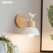 Wall-Lamp Wooden Bedroom Nordic Fixture Bird-Sconce Room-Decor Modern Led for Luces