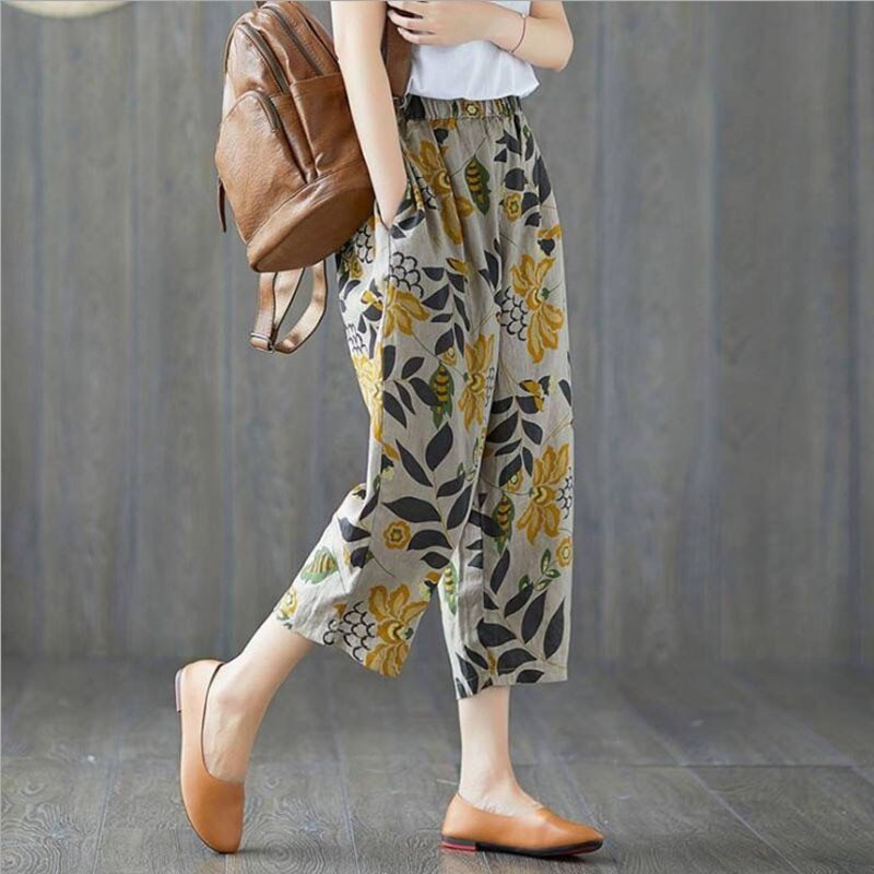 Women Summer Flax Cropped Pants Cotton And Linen Trousers High Waist Lady's Loose And Comfortable Girls' Casual Flower Garments