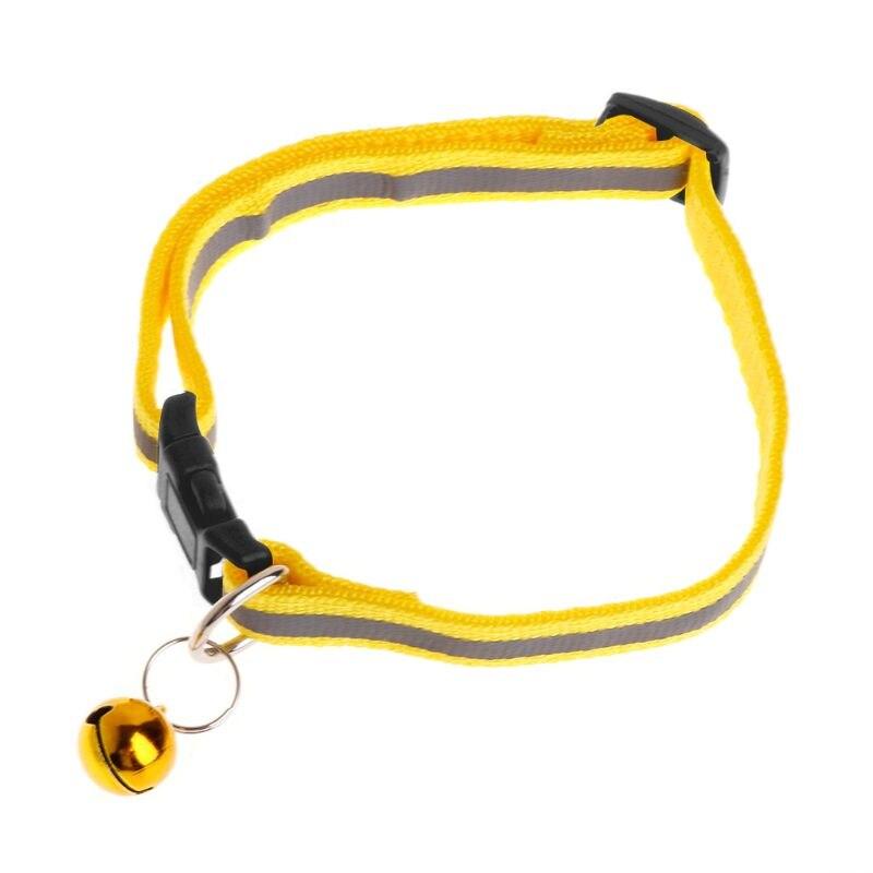 Ошейник для питомца, Светоотражающий ремень, защита от потери собаки, щенка, котенка, кошки, ремень для безопасности, регулируемый звонок, декоративные изделия L41A