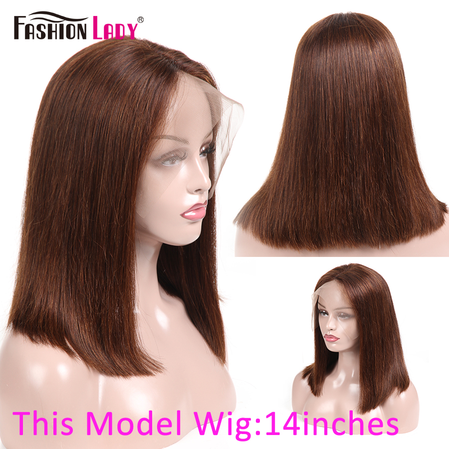 Lace Front Wigs Fashion Lady Pre-Colored Brazilian Human Hair Wigs Brown Color 13x4inch Closure Bob Wigs