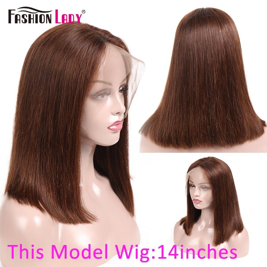 Lace Front Wigs Fashion Lady Pre-Colored Brazilian Human Hair Wigs Brown Color 13x4inch Closure Bob Wigs