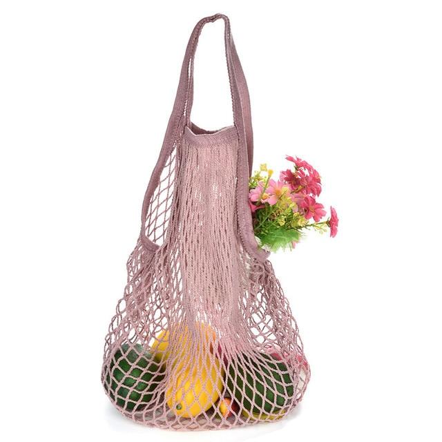 Mesh Net Bag String Fruit Storage reusable shop bags eco Foldable Portable Beach Bag Kid Basket Storage Bag Dropshipping 1