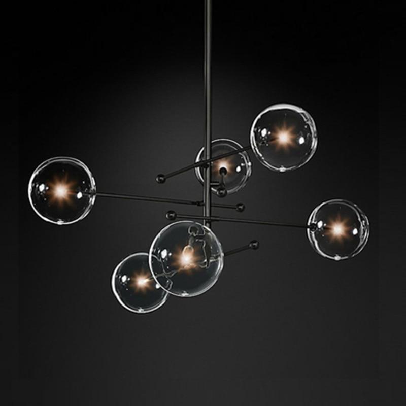 Modern Design Glass Ball Chandelier 6 Heads Clear Glass Bubble Lamp Chandelier For Living Room Kitchen Black/gold Light Fixture
