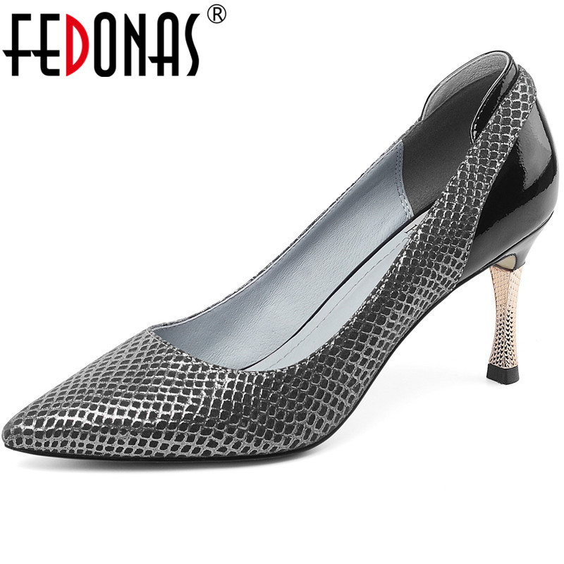 FEDONAS Classic Design Spring Summer Women Wedding Office Lady Shoes Genuine Leather Metal Decoration High Heeled Shoes Woman