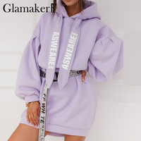 Glamaker Lila lose sweatshirt hoodies mode frauen casual herbst langarm sweatshirt kleid weibliche oversize sweatshirt