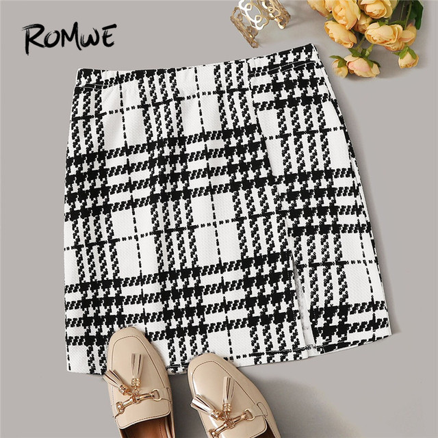 ROMWE Plaid Textured Mini Skirts Womens Spring Fall 2019 Clothes Mid Waist Black Skirt White Skirt A Line Split Hem Korean Skirt 4