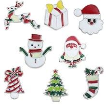 Модная мультяшная брошь в виде Санта Клауса, рождественские эмалированные мини-булавки, милые Металлические Булавки, значки, эмалированная...