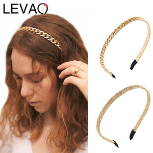 LEVAO New Metal Chain Headband Women Bright Gold Hairband Bezel Turban Female Girls Headwear Ladies Hair Accessories Hair Hoop