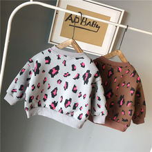 Осенне-зимняя футболка с длинным рукавом модные рождественские подарки топы для мальчиков и девочек, детские леопардовые толстовки с принтами, одежда