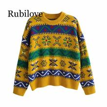 Rubilove Stylish Women Rainbow Geometric Sweaters 2019 Jumpers for Ladies Fashion Striped Oversized Pullover
