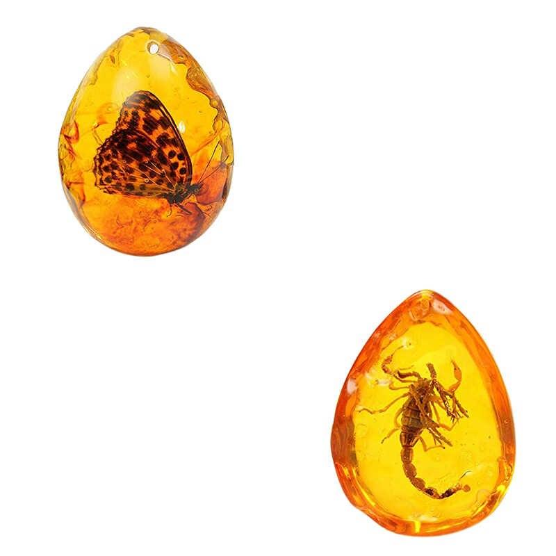 2 Pcs Fashion Alami Serangga Amber Batu Permata Ornamen Orisinalitas Kalajengking Butterfly Spider Crab Dekorasi dengan Lubang Liontin