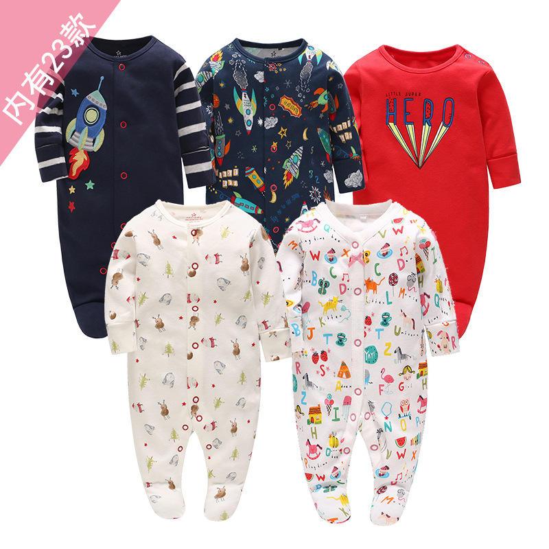 Picturesque Childhood 2019 Newborn Baby Girl Boy Clothes Cartoon Rocket Cotton Long-sleeved Footies Infant Pajamas
