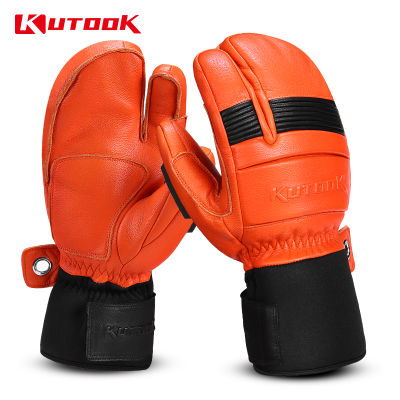 KUTOOK Winter Skiing Gloves Waterproof Goat Skin Fist Protective Snowboard Snowmobile Protector Men Women Warm Snow Ski Mittens