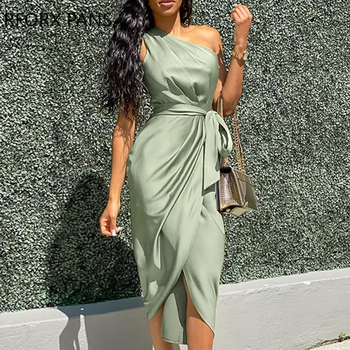One Shoulder Ruched Design Party Dress  Bodycon Dress khaki hollow design off shoulder bodycon party dress