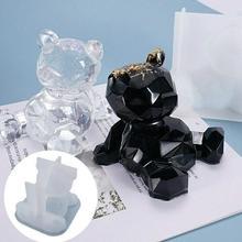 3D niedźwiedź forma żywiczna silikonowa przezroczysta żywica epoksydowa odlewania formy świeczka tortowa mydło tworzenia biżuterii formy na Handmade prezent rzemiosło żywiczne DIY tanie tanio CN (pochodzenie) 8 2cm 9 5cm Narzędzia jubilerskie i urządzeń SILICONE LTXGJ-001 DIY Silicone Mold Bear Resin Mould Silicone
